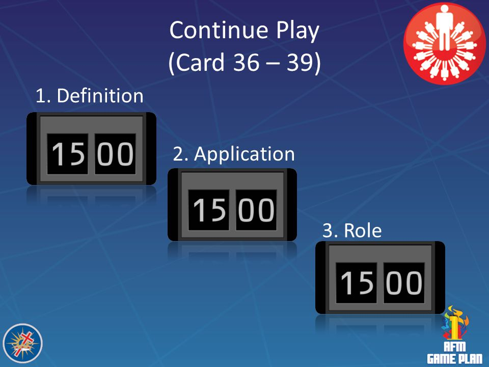 Continue Play (Card 36 – 39) 1. Definition 2. Application 3. Role