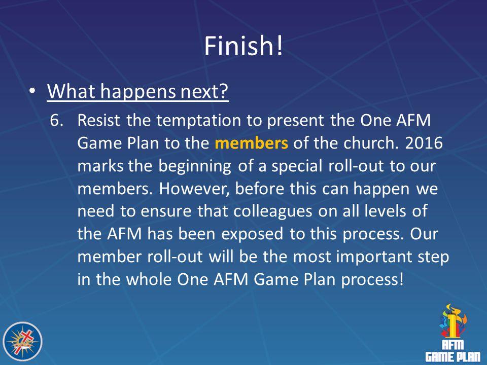 Finish! What happens next
