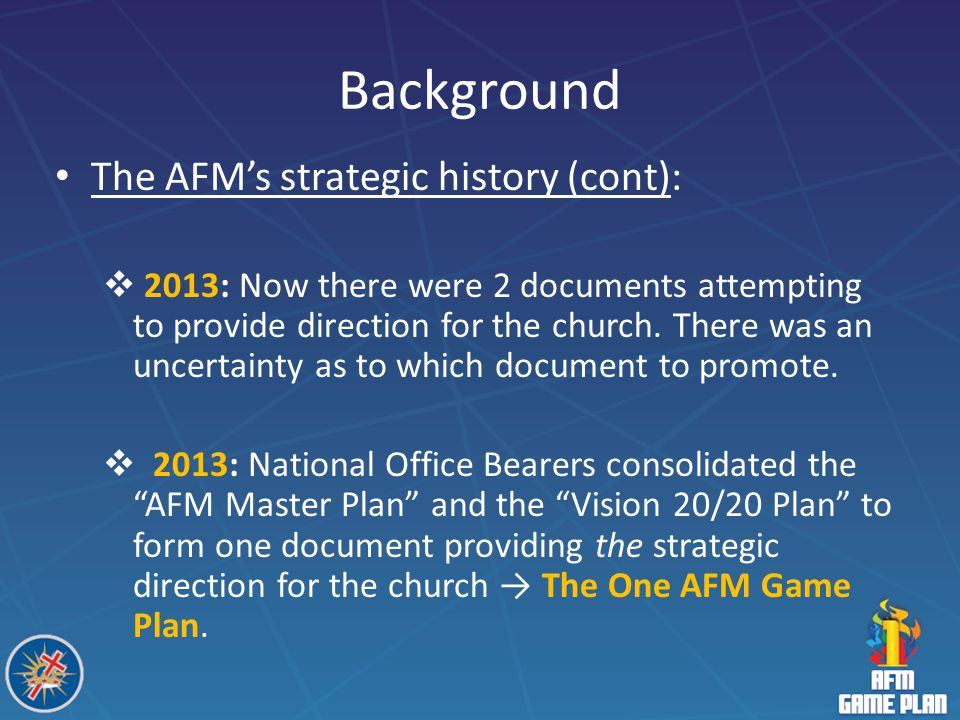 Background The AFM's strategic history (cont):