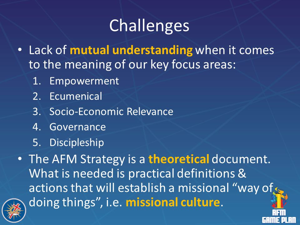 Challenges Lack of mutual understanding when it comes to the meaning of our key focus areas: Empowerment.