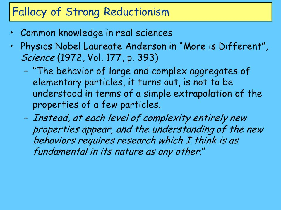 Fallacy of Strong Reductionism