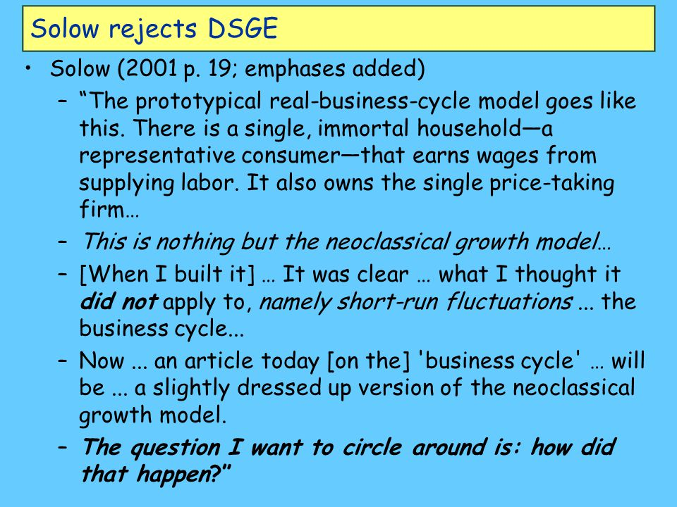 Solow rejects DSGE Solow (2001 p. 19; emphases added)
