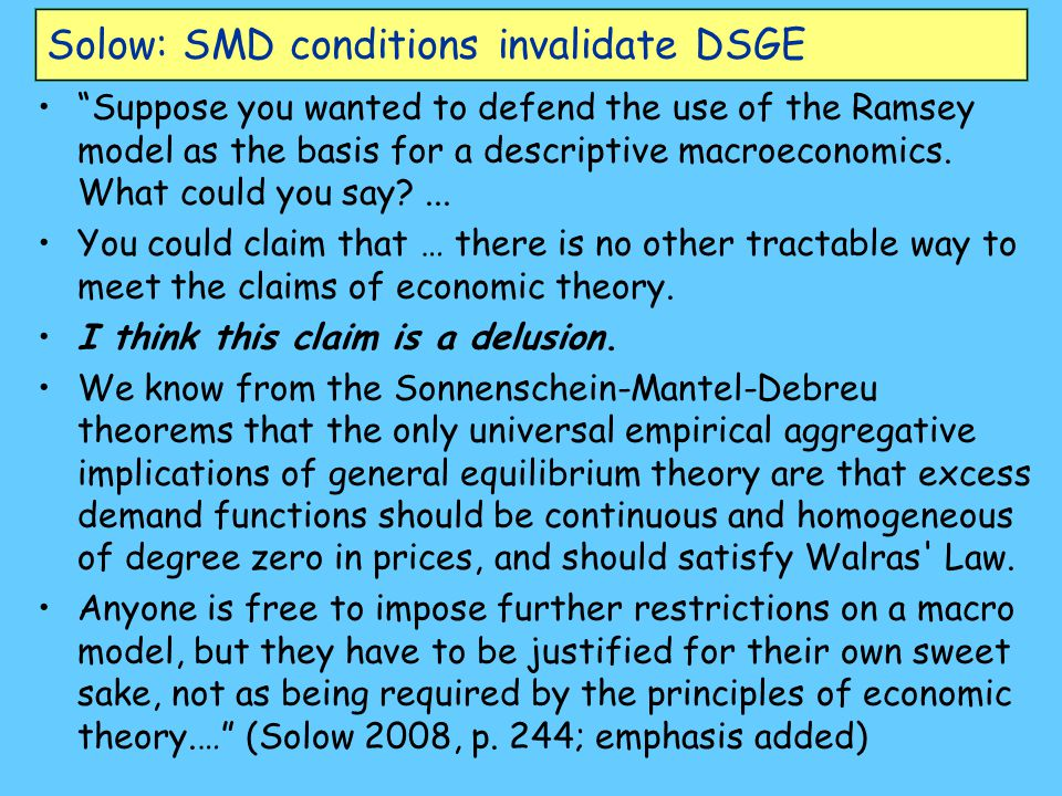 Solow: SMD conditions invalidate DSGE