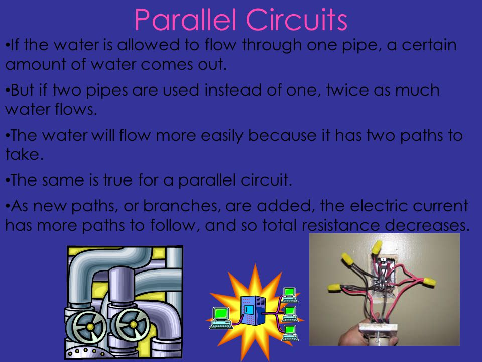 Parallel Circuits If the water is allowed to flow through one pipe, a certain amount of water comes out.