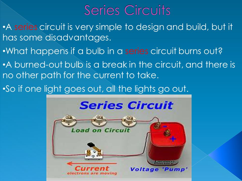 Series Circuits A series circuit is very simple to design and build, but it has some disadvantages.