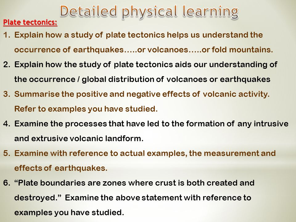 Detailed physical learning