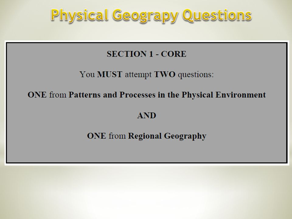 Physical Geograpy Questions