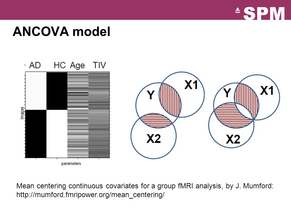 ANCOVA model Mean centering continuous covariates for a group fMRI analysis, by J.