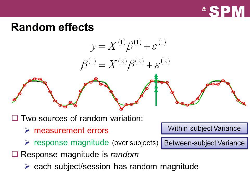 Random effects Two sources of random variation: measurement errors