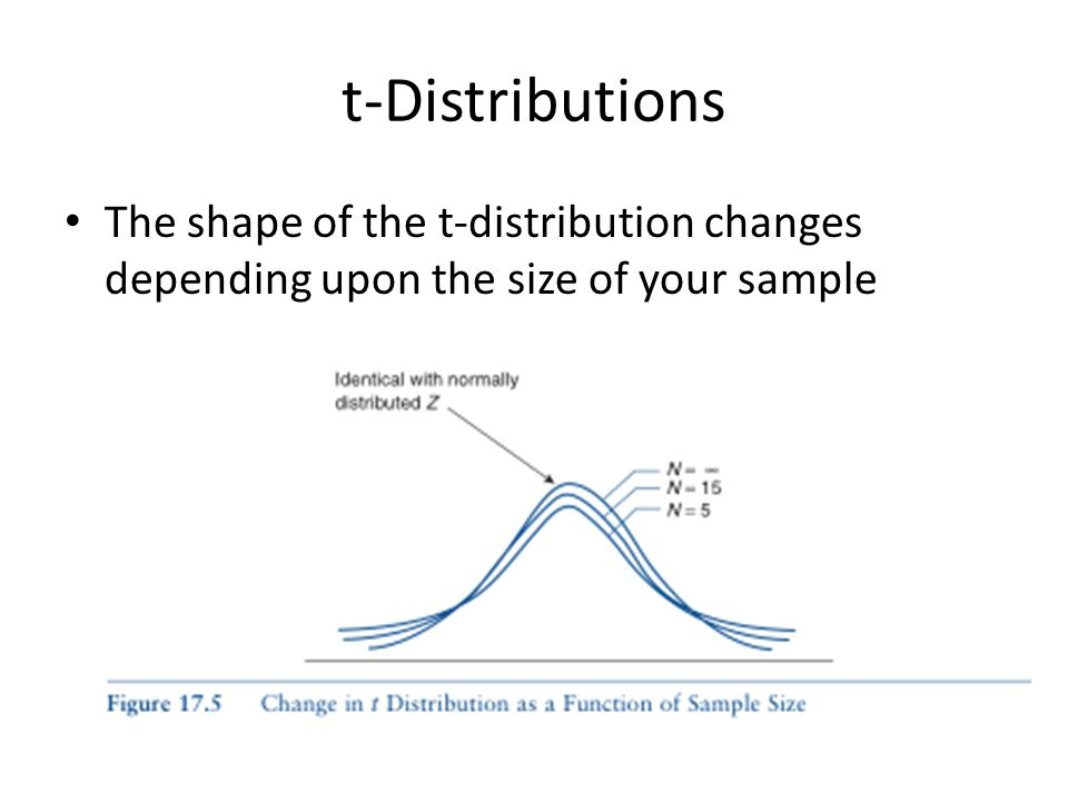 t-Distributions The shape of the t-distribution changes depending upon the size of your sample