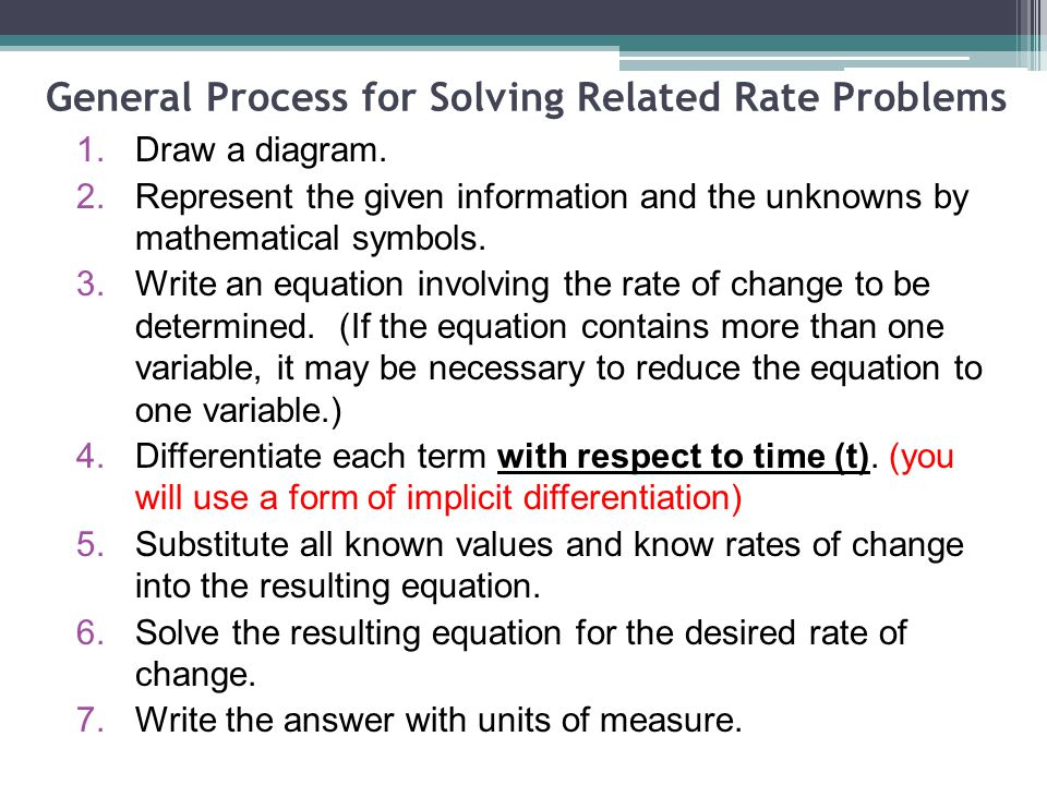 General Process for Solving Related Rate Problems