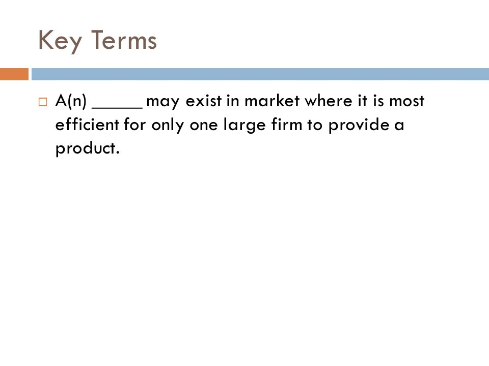 Key Terms A(n) _____ may exist in market where it is most efficient for only one large firm to provide a product.