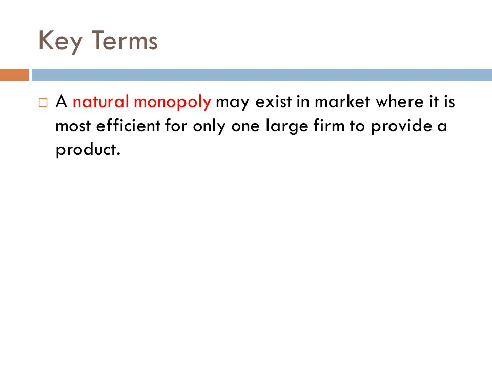 Key Terms A natural monopoly may exist in market where it is most efficient for only one large firm to provide a product.