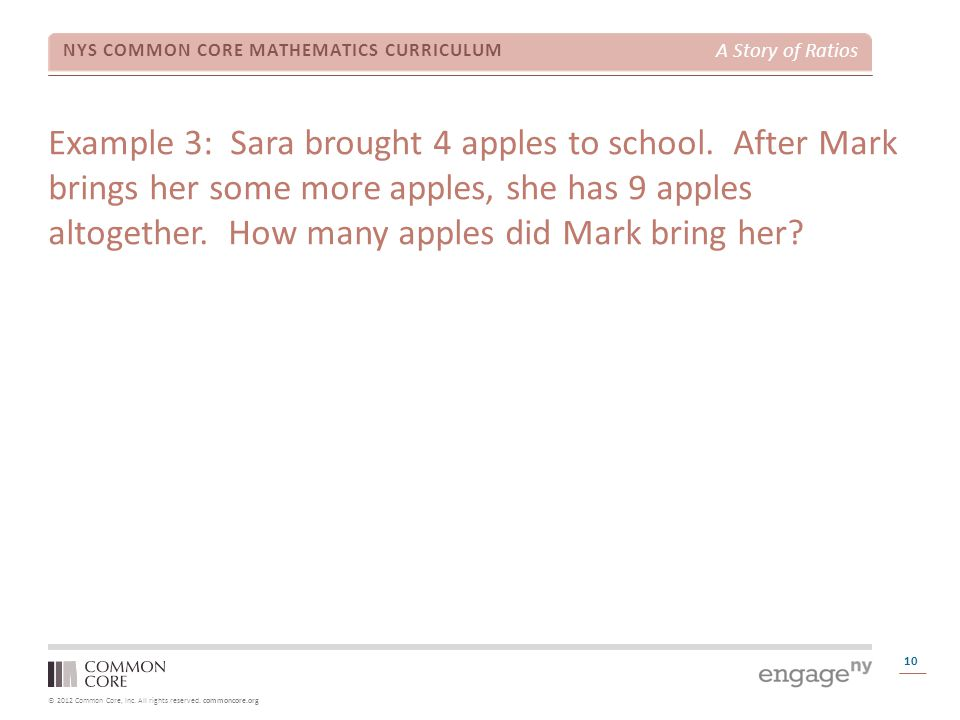 Example 3: Sara brought 4 apples to school