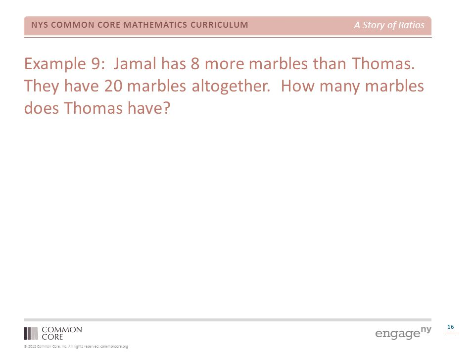 Example 9: Jamal has 8 more marbles than Thomas