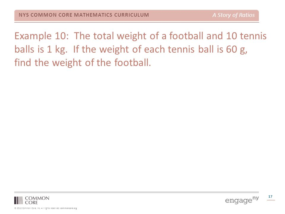 Example 10: The total weight of a football and 10 tennis balls is 1 kg