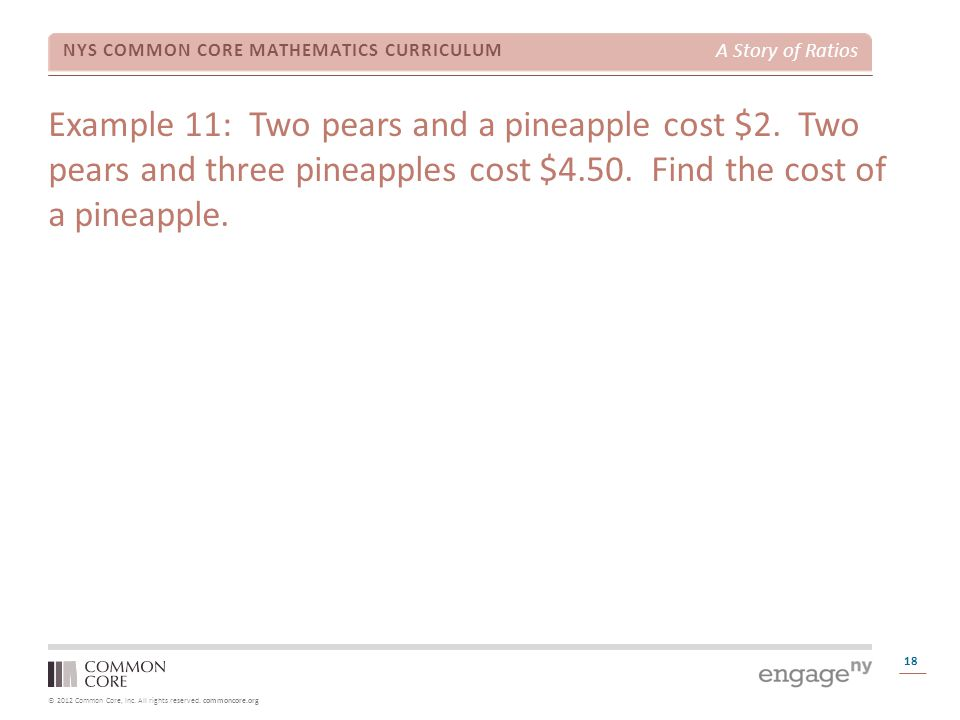 Example 11: Two pears and a pineapple cost $2