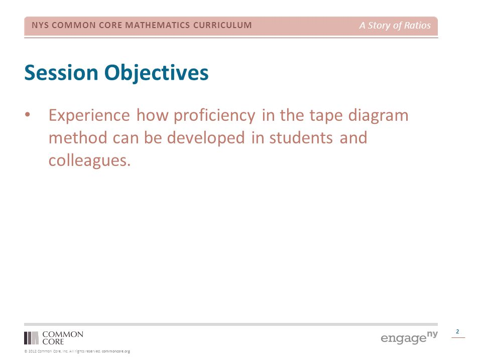 Session Objectives Experience how proficiency in the tape diagram method can be developed in students and colleagues.