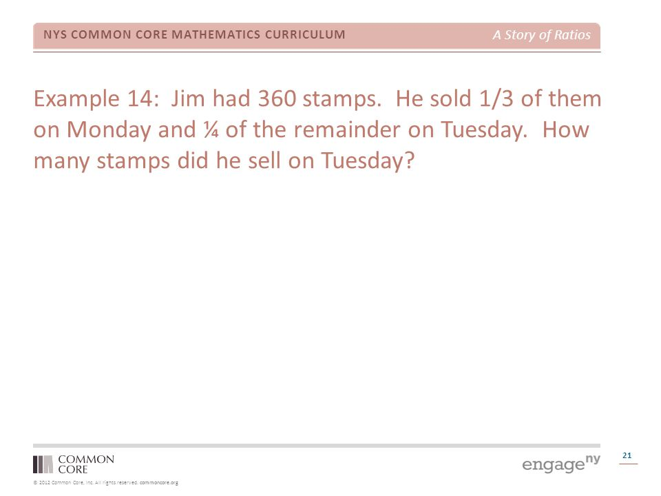 Example 14: Jim had 360 stamps