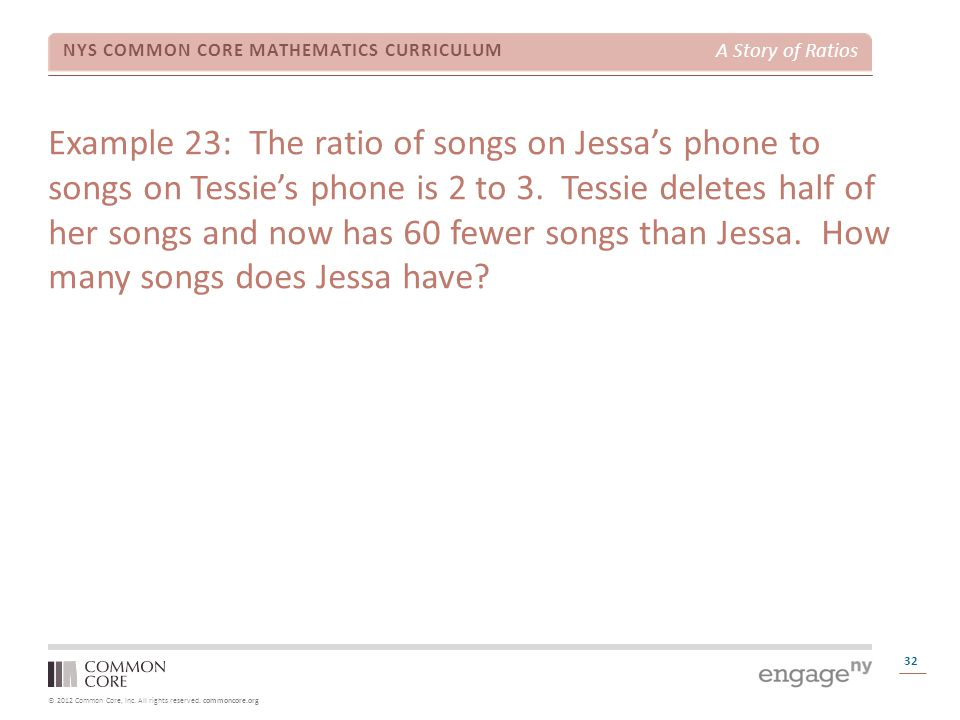 Example 23: The ratio of songs on Jessa's phone to songs on Tessie's phone is 2 to 3.