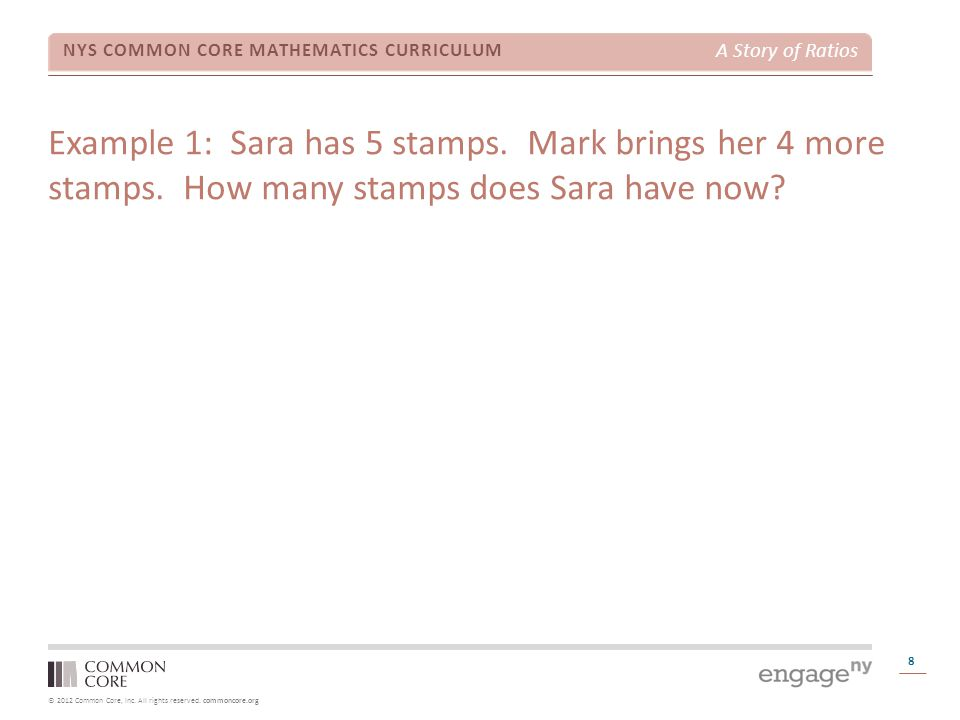 Example 1: Sara has 5 stamps. Mark brings her 4 more stamps