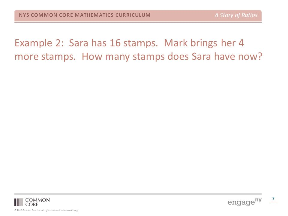Example 2: Sara has 16 stamps. Mark brings her 4 more stamps