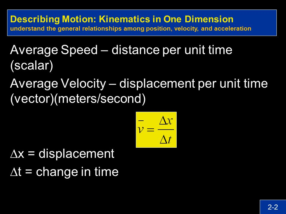 Average Speed – distance per unit time (scalar)