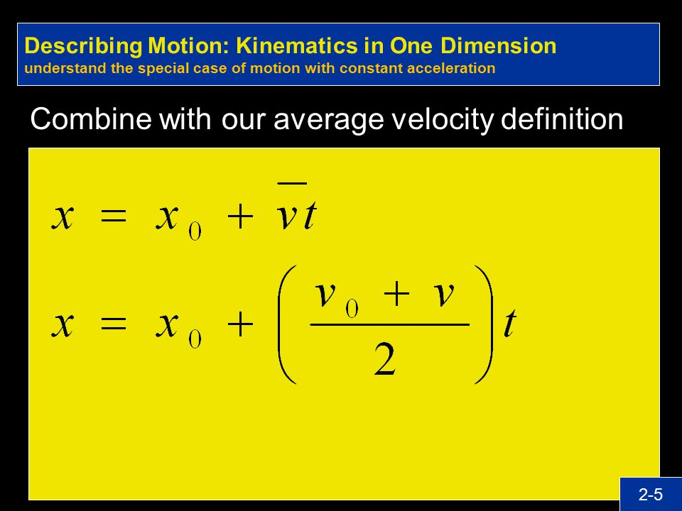 Combine with our average velocity definition