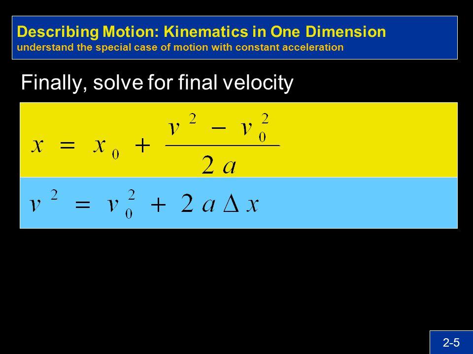 Finally, solve for final velocity