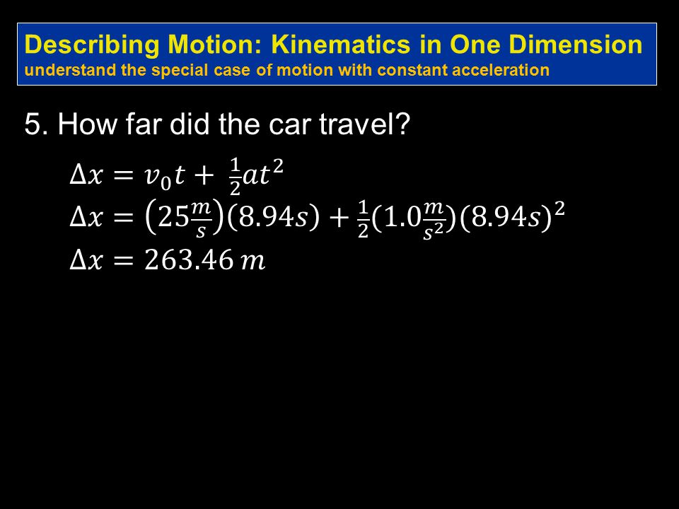5. How far did the car travel