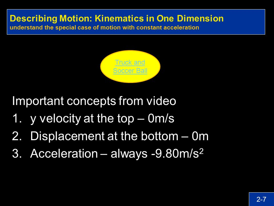 Important concepts from video y velocity at the top – 0m/s