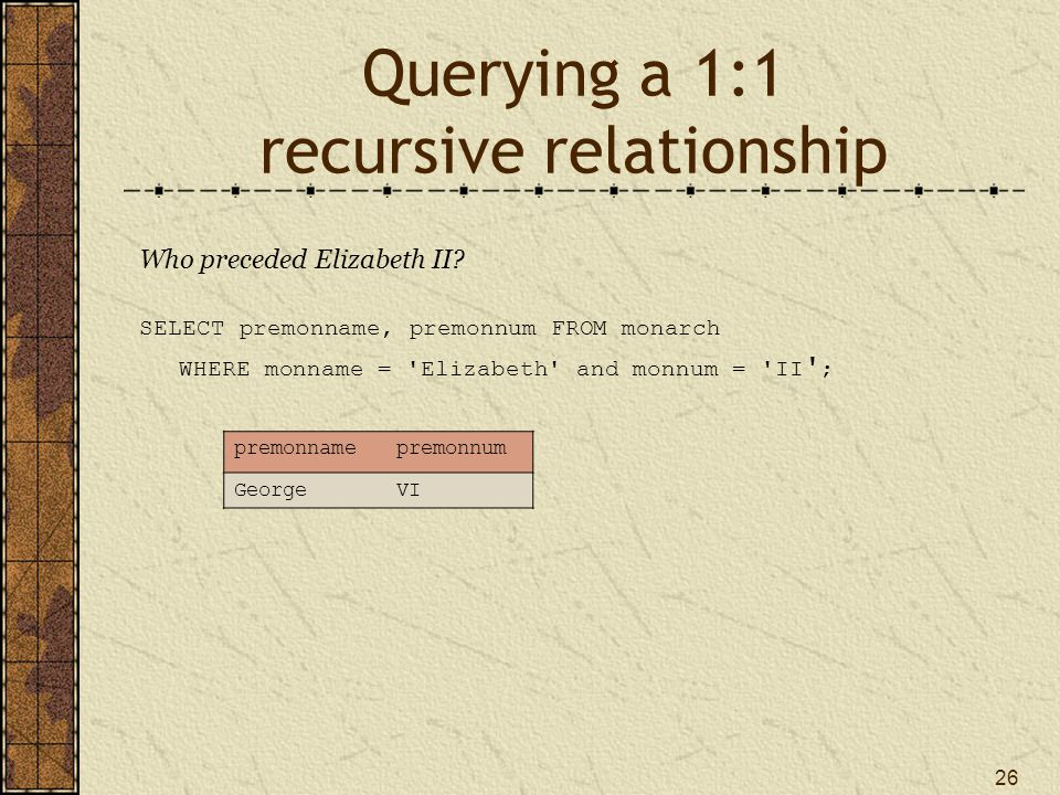 Querying a 1:1 recursive relationship