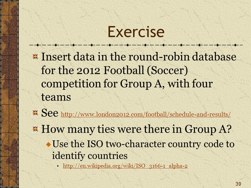 Exercise Insert data in the round-robin database for the 2012 Football (Soccer) competition for Group A, with four teams.