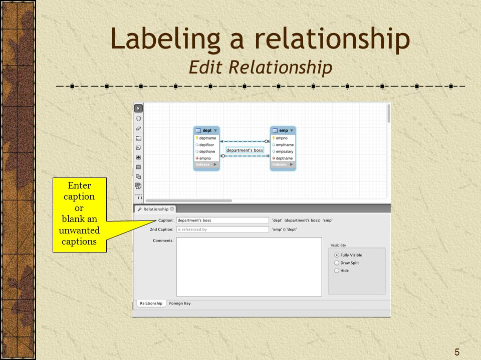 Labeling a relationship Edit Relationship