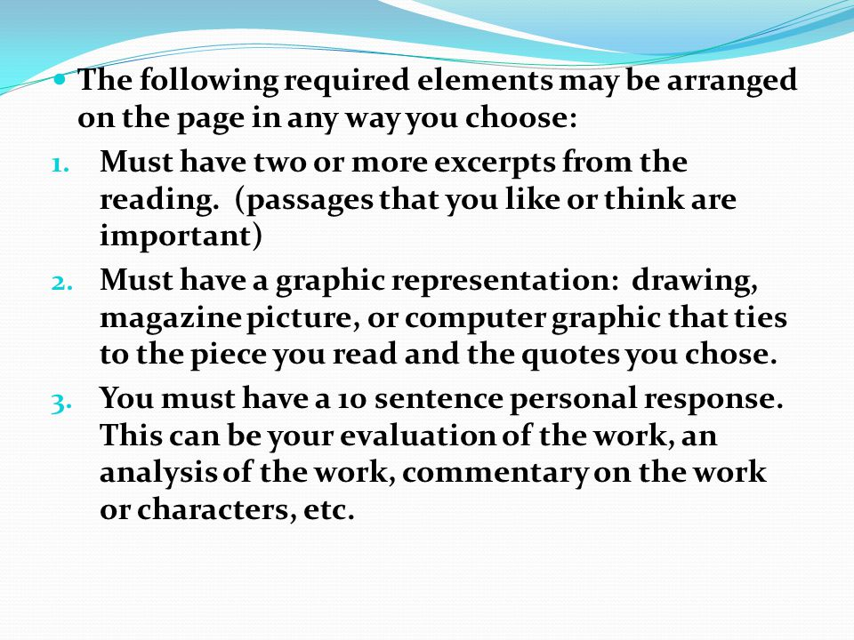 The following required elements may be arranged on the page in any way you choose: