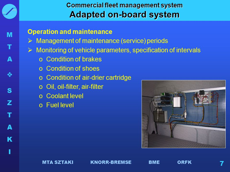 Commercial fleet management system Adapted on-board system