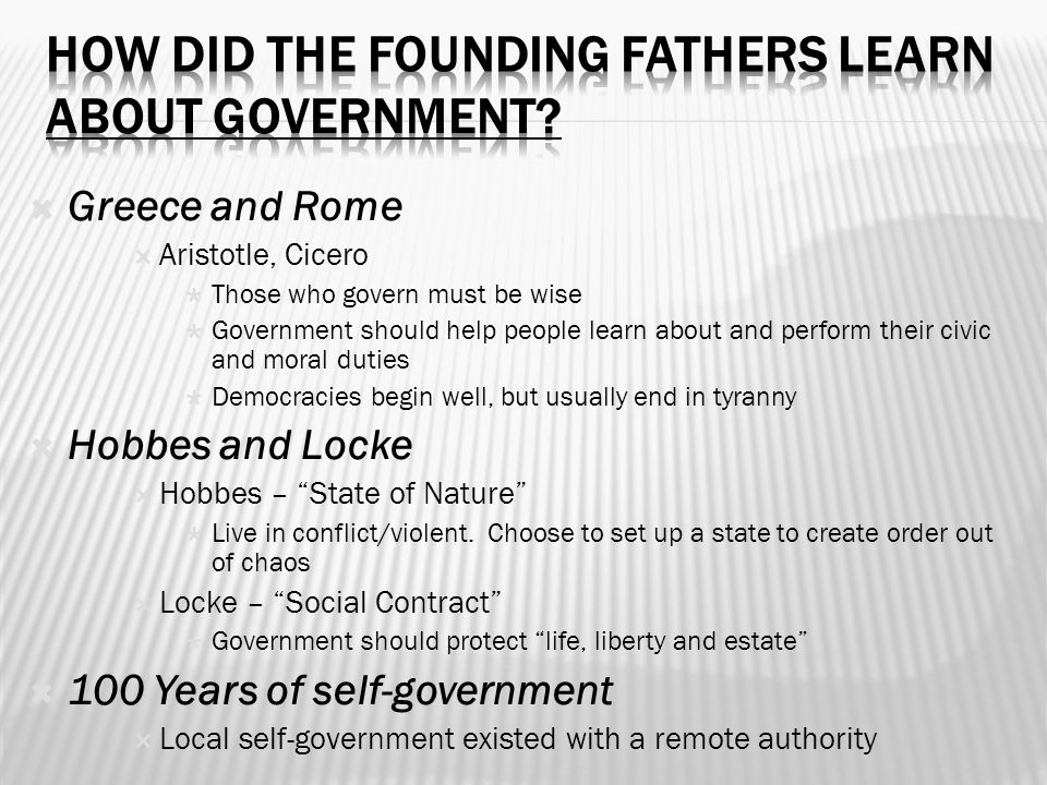 How did the Founding Fathers learn about government