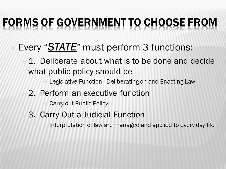 Forms of government to choose from