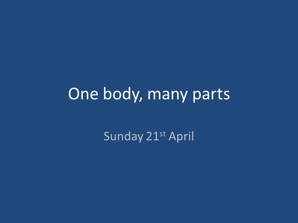 One body, many parts Sunday 21st April