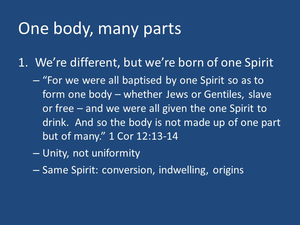 One body, many parts We're different, but we're born of one Spirit