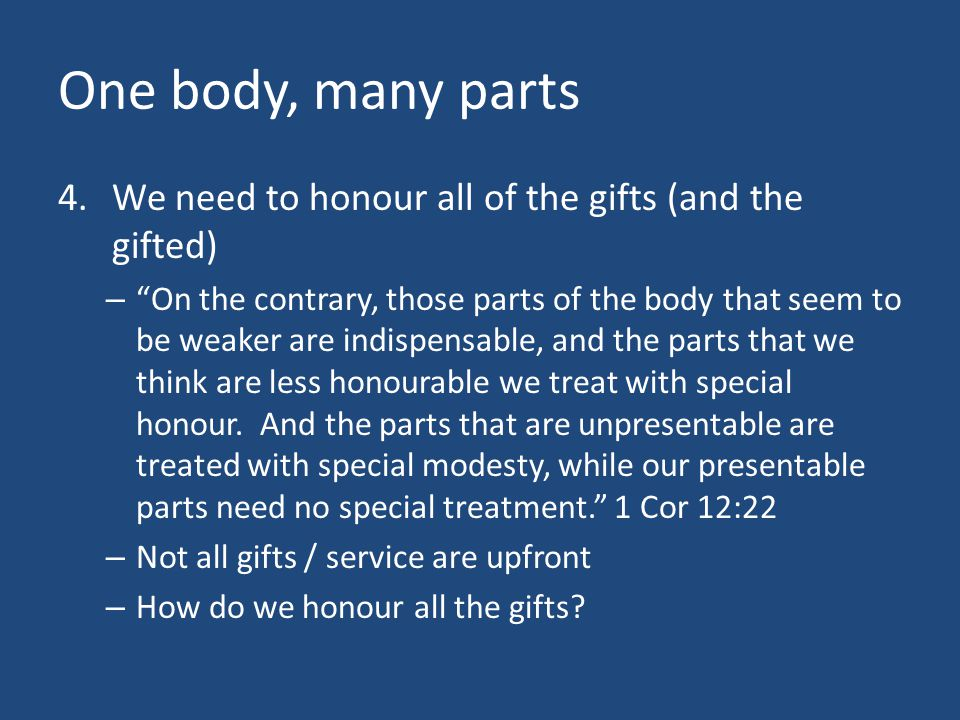 One body, many parts We need to honour all of the gifts (and the gifted)