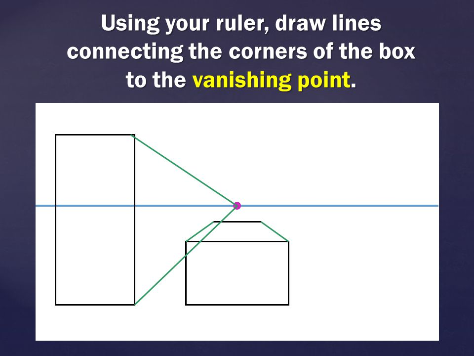 Using your ruler, draw lines connecting the corners of the box to the vanishing point.