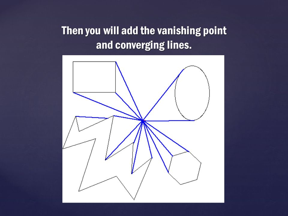 Then you will add the vanishing point and converging lines.