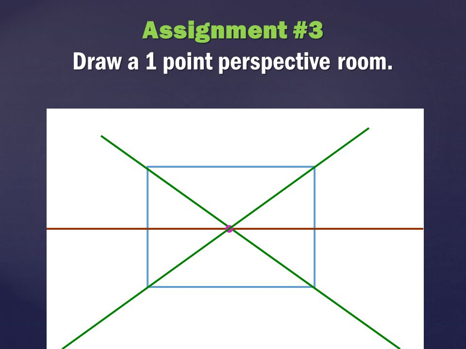 Assignment #3 Draw a 1 point perspective room.