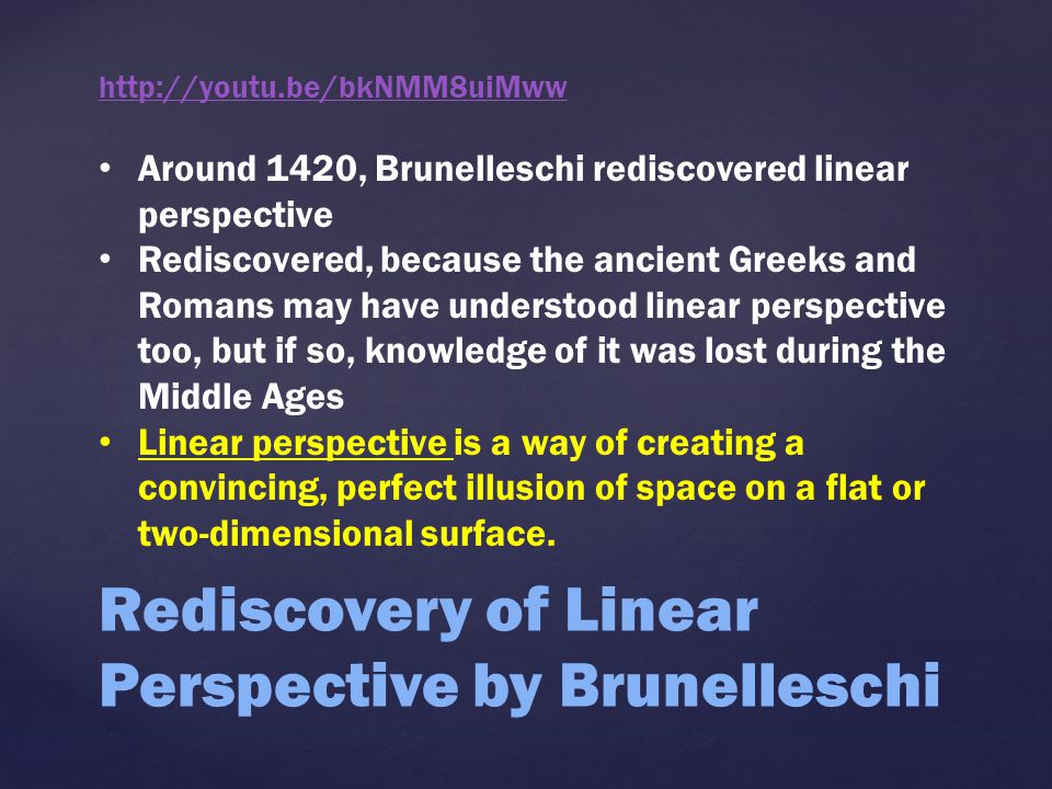 Rediscovery of Linear Perspective by Brunelleschi