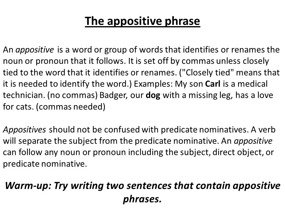 Warm-up: Try writing two sentences that contain appositive phrases.