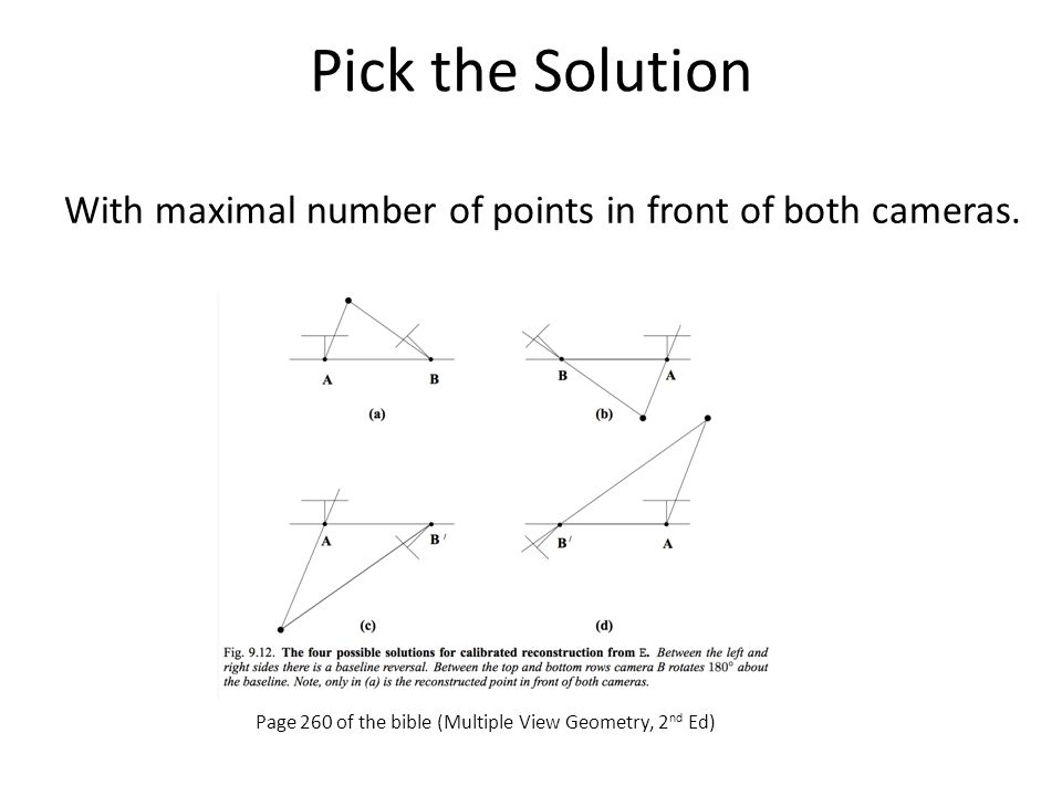 Pick the Solution With maximal number of points in front of both cameras.