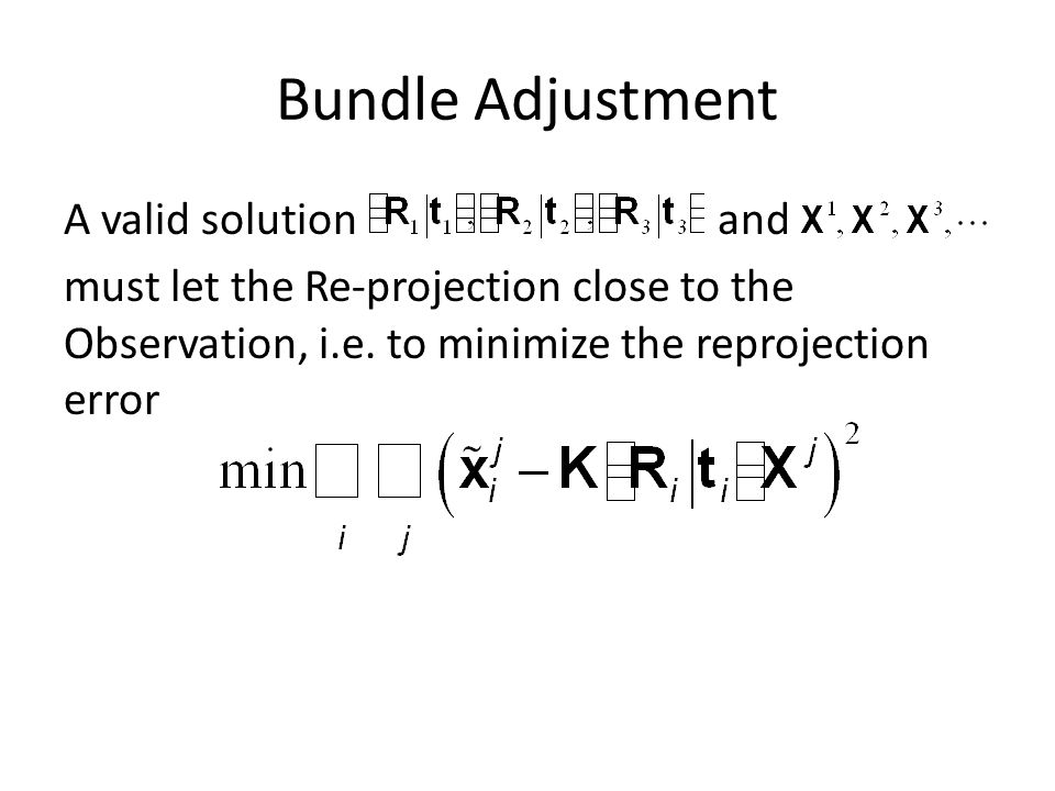 Bundle Adjustment A valid solution and must let the Re-projection close to the Observation, i.e.