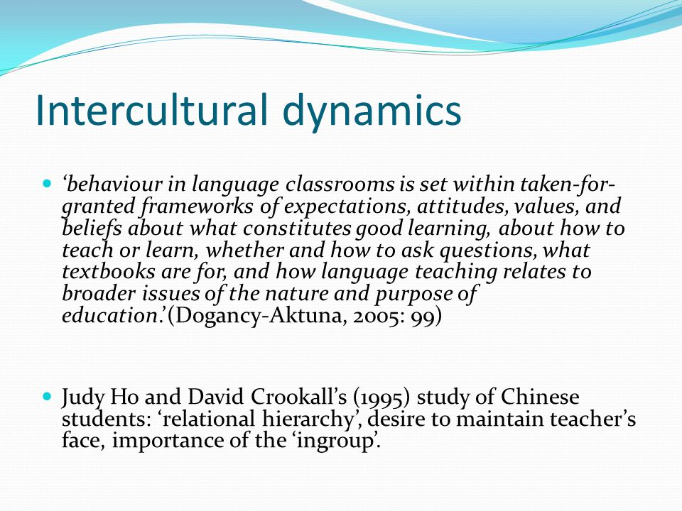 Intercultural dynamics