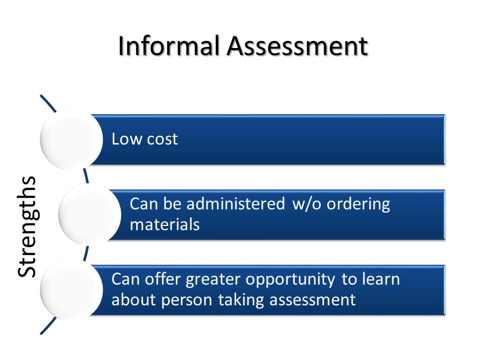 Informal Assessment Strengths Low cost